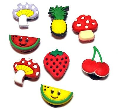 Girls Yummy Fruit #3 Shoe Decoration Charms or Snap Hook Zipper Pulls (Set of 8)