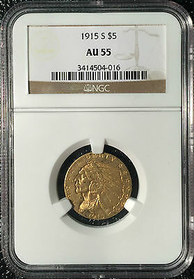 1915-S $5 Gold Indian Head AU55 NGC