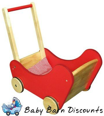 Viga Toys Traditional Wooden Dolls Buggy Pram with Bedding