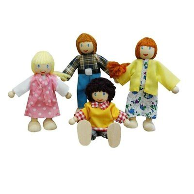 Fun Factory Wooden Doll House Family of 4 White Ethnic Posable & Bendable Dolls