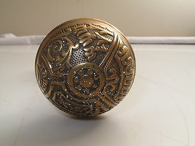 Antique Victorian Ornate Brass Eastlake Door Knobs Beaded Edge Floral Daisy 1840