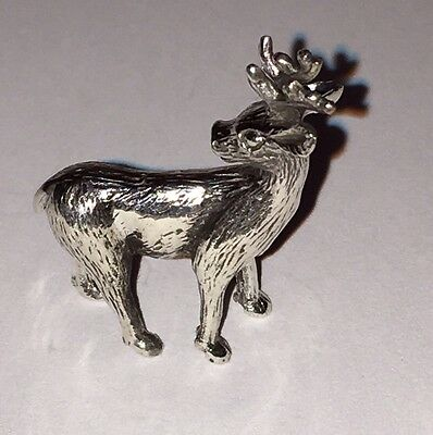 Solid Silver Miniature Reindeer Statue