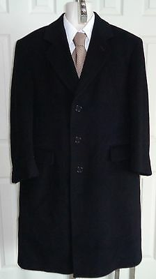 Executive Italian cashmere blend 3 button topcoat overcoat solid black 40 Short