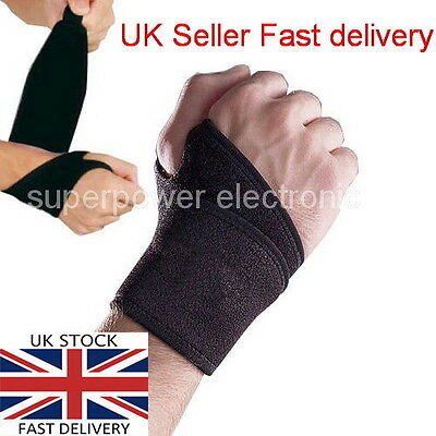 WRIST Adjustable Black Neoprene Palm Wrist Strap Hand Wrap Support