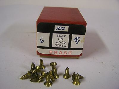"#6 x 3/8"" Flat Head Brass Wood Screws Solid Brass Slotted Made in USA Qty. 100"