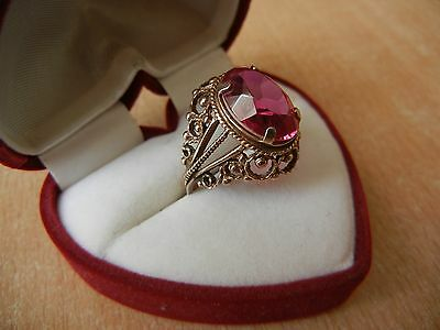 Vintage USSR RING SILVER GOLD PLATED 875 Star Size 10 RED STONE 6.6 g