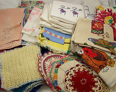Vintage Pot Holders Tea Towels and Cloths Embroidered Crocheted and Calendar