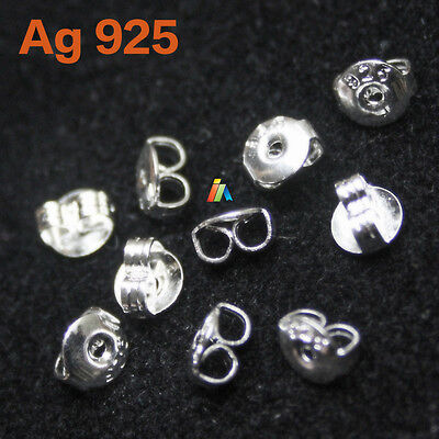 925 Stamped Sterling Silver Butterfly Earring Backs Scrolls Stopper For Stud Pin