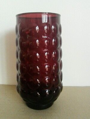 Anchor Hocking ruby red glass bubble vase