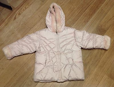 Girls Next Pink Hooded, Quilted Puffa Jacket/ Coat. Size 3-4 Years.