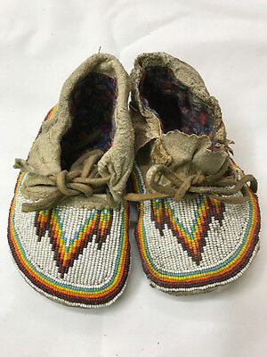 Native American Beaded Baby Infant Moccasins Pre 1930's