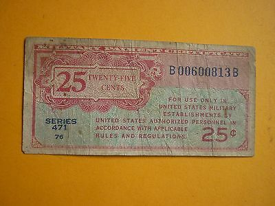 United States -1940's Issue 25 Cents Military Payment Certificate - Series 471