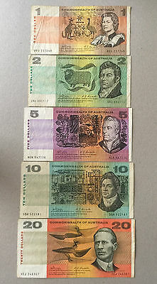 1968 Australian Philips/randall  Set Of 5 Notes $1 ,$2 ,$ 5, $10 And $20 Fine+