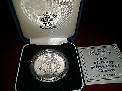 1990 Queen Mother Crown £5 Coin. Silver Proof   90Th Birthday Cased With Coa.