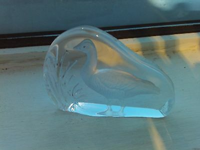 crystal glass bird paperweight