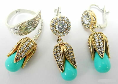 Sterling 925 Silver Handmade Jewelry Sleeping Beauty Turquoise Earring Ring Sets