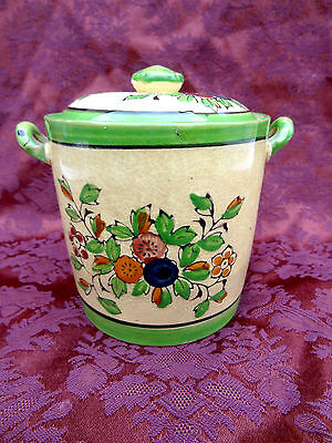 Antique - Vintage  Hand Painted Japanese Pottery Jar With Lid  Ceramic Japan