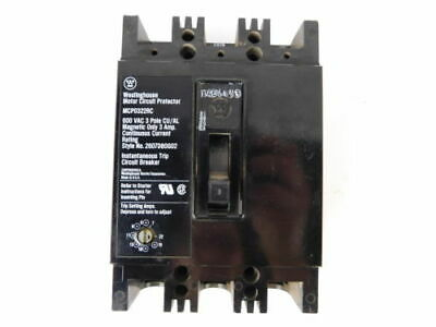Westinghouse 3-Pole, 3 Amp, 600V Motor Circuit Protector MCP0322RC