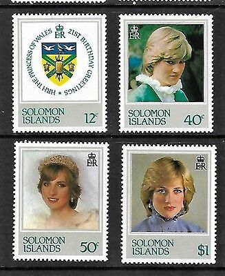 Solomon Islands.   Princess Diana 21st birthday set. 1982.  N H Mint.