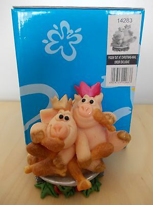 Piggin Out At Christmas Mail Order Exclusive 2 Pigs With Xmas Hats Eating Turkey