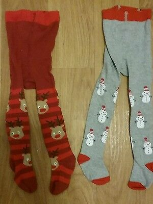 Worn once 2 pairs of next christmas tights size 6-12months