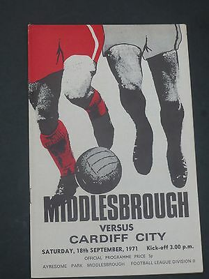 Middlesbrough V  Cardiff 1971/2