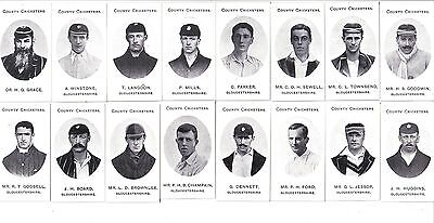 Taddy County Cricketers.Gloucestershire.Set of 16 cards.
