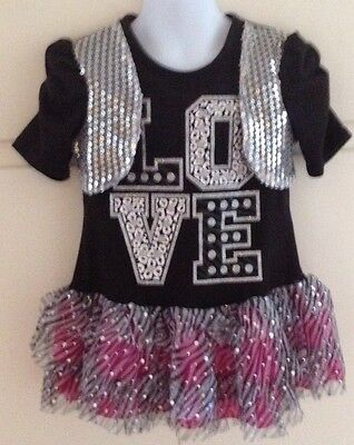 Girl's Size 6X Dress Costume Real Love Cheer Leader Dance Sequins