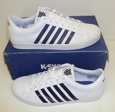 K Swiss Mens Belmont Retro White & Blue Leather New Trainers Shoes Sizes 7 & 8