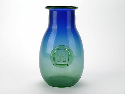 Interesting graduated blue and green glass vase with applied green prunt