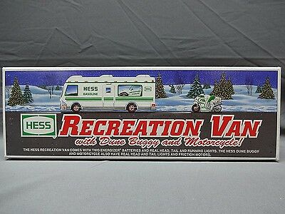 VINTAGE 1998 HESS Truck RV Recreation Van with Dune Buggy and Motorcycle NEW NIB