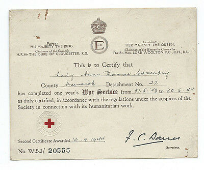 Red Cross Certificate to Lady Anne Downe Coventry