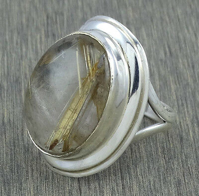 Golden Rutile 925 Sterling Silver Handmade Jewelry Designer Ring s.10