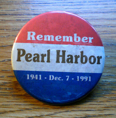"""1941-1991 Remember Pearl Harbor Start Of WWII 2 1/4"""" Celluloid Cause Pinback"""