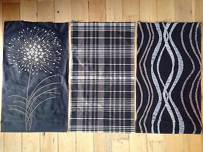 3 Pieces Of Silk in Charcoal Grey Beige & White