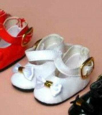 """WHITE Patent Doll Shoes Mary Janes Bow on Toe fit Ann Estelle Mary Hoyer 1-3/4""""L"""