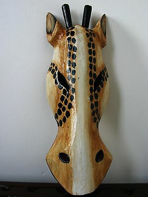 Wooden Giraffe Mask 30Cm - Hand Carved And Hand Painted