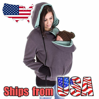 Baby Carrier Jacket Hoodie Kangaroo Maternity Fleece Mom Baby Outerwear Coat