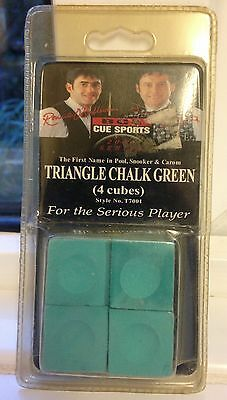New Snooker Cue Triangle Chalk Green 4 Cubes