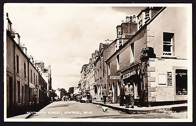 RPPC Photo Postcard of Wentworth Street Portree Skye Scottish Island Road Shops
