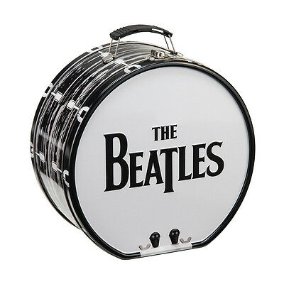 The Beatles Classic Name Logo Drum Shaped Tin Tote Lunchbox, NEW UNUSED