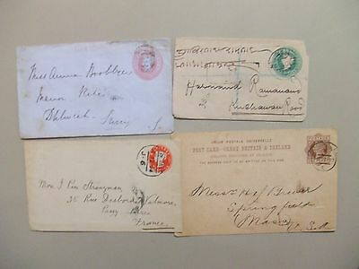 Four Queen Victoria postal Stationery.one is registered