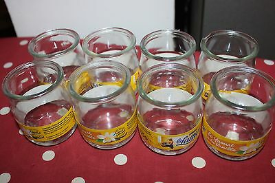 Eight 8 French Yogurt Yoghurt Clear Glass Pots Containers Holders Craft Etc