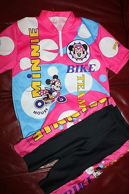 Girls Minnie Disney Pink Bike Cycling Stretch Shorts & Top Set Size 7-8 Years