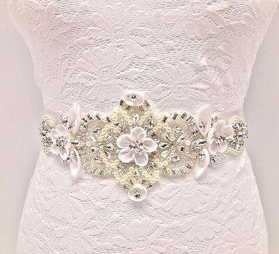 A grade Pearl Rhinestone With White Ribbon Flower Applique For Wedding Belt
