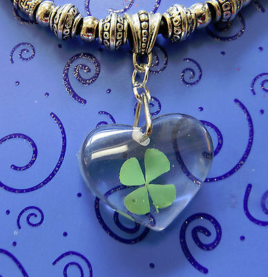 """SP St. PATTY'S IRISH 4 LEAF CLOVER IN HEART RESIN &18-20"""" BLACK LEATHER NECKLACE"""
