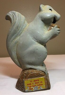 "Vintage ADVERTISING ""St. Joseph Bank & Trust Indiana"" Cast Metal Squirrel Bank"