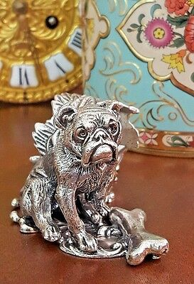 Victorian Silver Plated Napkin Ring Figural Canine BULLDOG Table Place Setting
