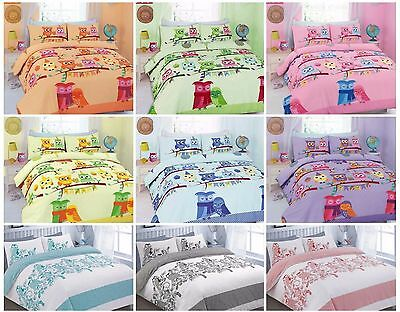 Luxury CUTE OWLS Printed Duvet Cover+Pillowcase / Cot Bed /Curtains Bedding Set