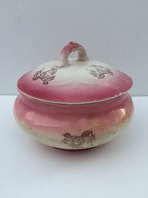 Antique WP Labelle China Pink Bowl With Lid